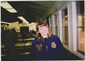 Looking a lot tired, one duty of a state officer was to cheer on the FFA members participating in career development events. This was taken at the state Forestry contest.