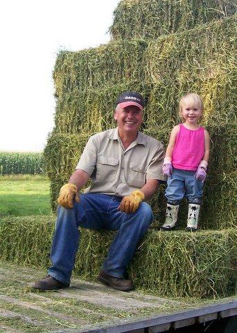 Nattie & Papa baling hay