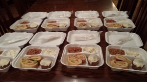 When harvest moves to more than an hour away from home; meals are delivered to-go style.