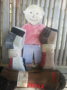 Figure 13. These warm socks are made from alpaca fleece.