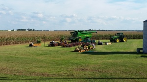 Garden boxes filled with Illinois' crops cared for by Pontiac FFA stood guard at the event site ready for guests.