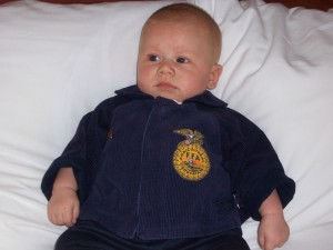 One of my state officer jackets became my farm boy's first jacket. He was just four months old.